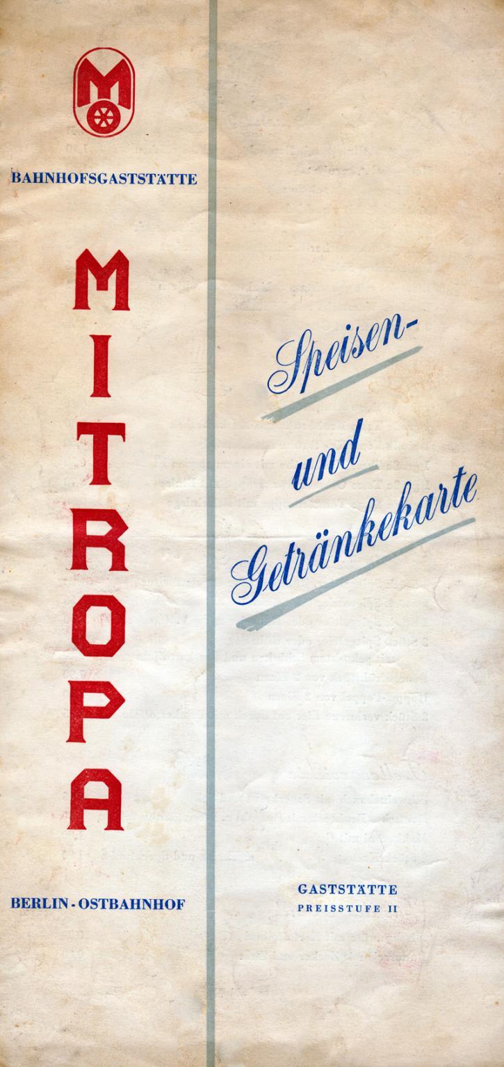 Mitropa Speisekarte von 1959