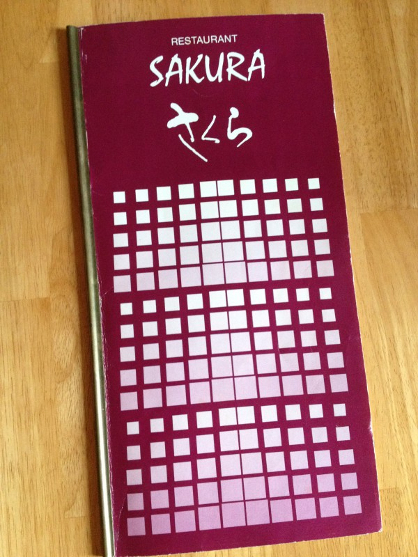 Speisekarte Restaurant Sakura 1988