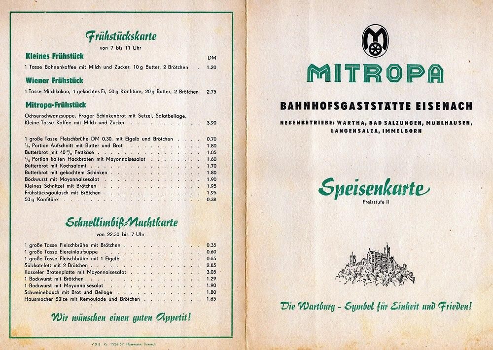 Mitropa Speisekarte Eisenach