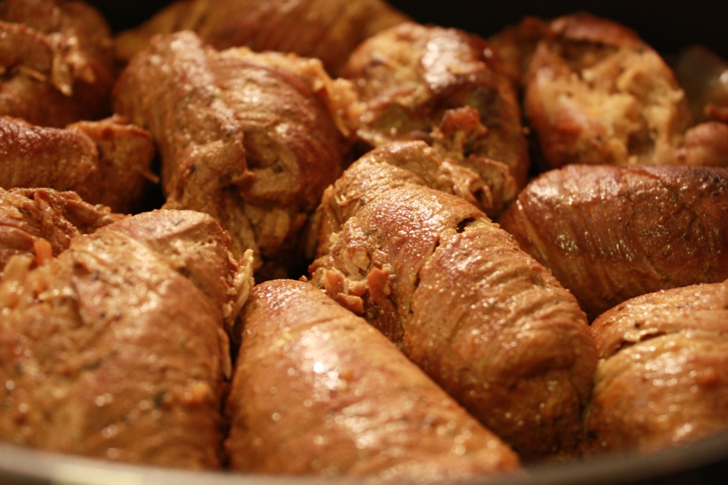 Rezept: Schweinerouladen gefüllt mit Sauerkraut